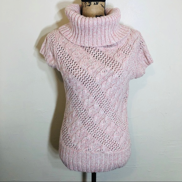 Dress Barn Sweaters - Dressbarn Pink White crotchet short sleeve sweater